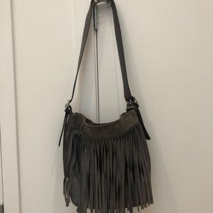 Coach Stone Leather with Suede Fringe Bucket Bag